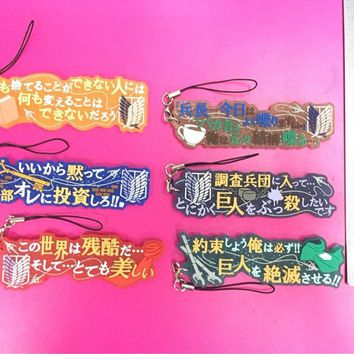 Cool Attack on Titan 6pcs/set Worlds of  Original Japanese anime rubber mobile phone charms keychain strap G672 AT_90_11