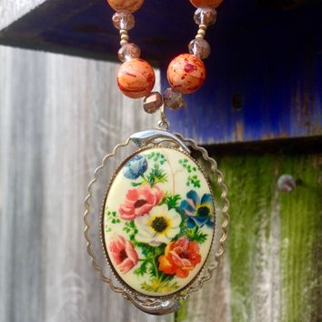 Painted Floral Brooch Necklace with Painted Beads and Swarovski Crystals