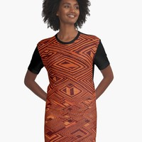 'RAFFIA KUBA PATTERN 10' Graphic T-Shirt Dress by planetterra