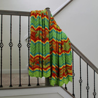 Colorful Fiesta Afghan - Full Size Crochet Blanket - Ripple or Chevron Throw in Bright Colors - Striped Afghan