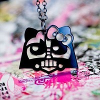 Oops DarthV Kitty Black Acrylic Necklace by hellowars on Etsy