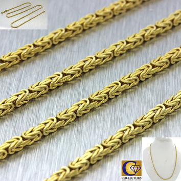 "14k Solid Yellow Gold Italy 2mm Byzantine Weave 23"" Chain Necklace 20.2g"