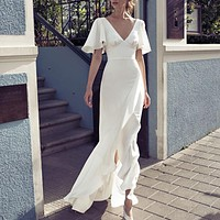 Elegant Sexy V Neck Backless White Maxi Dress