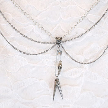 Punk Rock Safety Pin Necklace - skull, silver, spikes