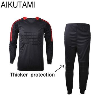 Football Goalkeeper Soccer Uniforms Set Breathable Dry Fit Jersey and Pants with Sponge Mats Protection Football Jerseys