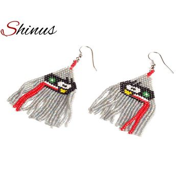 Women's Shinus Red Tongue Earrings Native American Beaded Earrings MIYUKI Seed Beads Jewelry