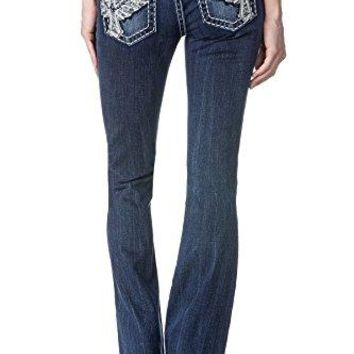 Miss Me Women's Wing Cross Embellished Boot Cut Denim Jean