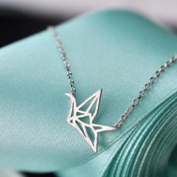 Origami Crane Necklace  - 925 Sterling Silver