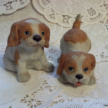 Homco Figurines Spaniel Puppies, Vintage Collectible Figurines, Playful Puppies