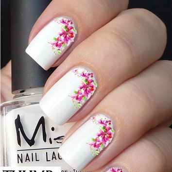 pink flower arrangement nail decals nail decal nail art nail sticker