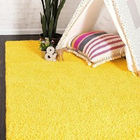 8000 Yellow Solid Color Shag Area Rugs