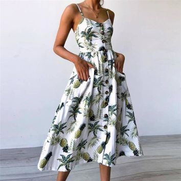 2018 Summer New Fashion dresses Sexy Sunflower pineapple floral Printing Buttons Off Shoulder Sleeveless Dress Princess Dress