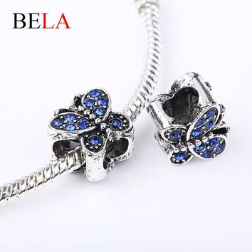 2015 Colorful Butterfly Simulated Diamond Charms Fit Pandora Bracelets Pendants With 9