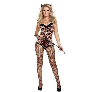 ONETOW Games Club Sexy Leopard Costume Anime Halloween Party Uniform [8978896135]