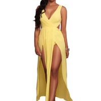 Yellow Split Backless Maxi Dress