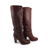 Tall Leather Boots Vintage 1970s Burgundy Brown Town and Country Heel Slouch Women's size  7 1/2