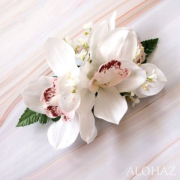 White Cymbidium Dream Hawaiian Flower Hair Clip