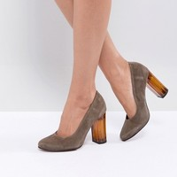 Selected Suede Shoe with Chunky Heel at asos.com