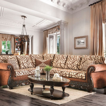 2 pc Cassandra collection brown floral patterned fabric & intricate wood trim accents sectional sofa set
