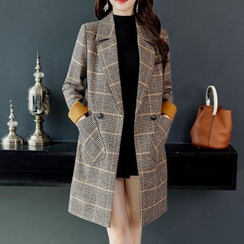 Winter Wool Women Plaid Pockets Blends Office Work Long Coats Fashion Brand Lady Slim Lapel Long Sleeve Blends Sexy