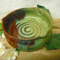 Brie Baker Dish - Personal Size Casserole - Mini Pie Pan - Brick Red and Jade Green - ceramics - pottery - stoneware