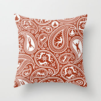 People Paisley Throw Pillow by Zomboy