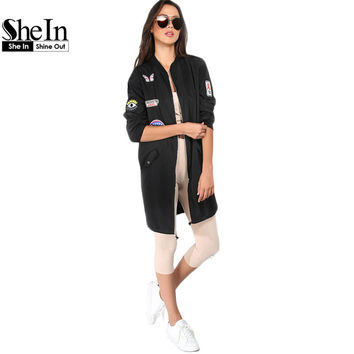 SheIn Ladies Black Letters Patch Long Sleeve Zipper Coat 2016 Autumn New Arrival Stand Collar Casual Long Basic Jacket