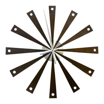 Pre-owned Wood & Metal Mid-Century Style Starburst Clock