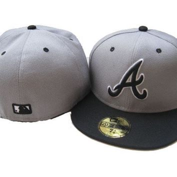 hcxx Atlanta Braves New Era MLB Authentic Collection 59FIFTY Hat Grey-Black