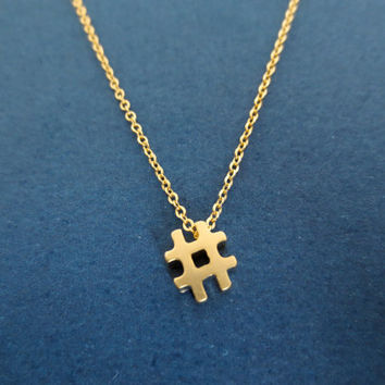 Gold, Hashtag, Gold/ Silver, # Sign, Necklace, Pound, Necklace, Number, Sign, Necklace, Hashtag