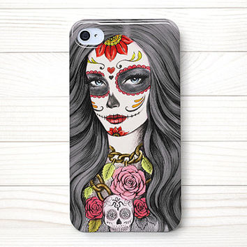 iPhone 4 Case, iPhone 4 Cases, iPhone 4S Case, iPhone 4 Case Wrap Around - Sugar Skull Girl (Color)