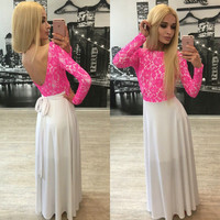 Lace Backless V-neck Long Sleeve Long Dress