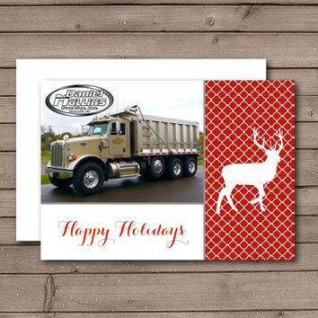 Christmas Cards, Happy Holiday Cards, Christmas Business Cards, Reindeer Quatrefoil Corporate or Photo Happy Holidays Folded Card