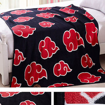 "59""NEW Japanese Anime Naruto Akatsuki Soft Warm Coral Fleece Plush Throw Blanket"