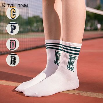 Women cotton socks girls letter stripe pattern casual white sock harajuku cute calcetines unisex spoart skate Hip hop tube sox