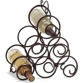 Iron Scroll Work 6 Bottle Wine Rack