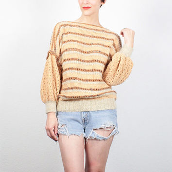 Vintage 1970s Sweater Tan Beige Pink Blue Striped Jumper Boho Textured Pullover 1970s Hippie Sweater Poet Sleeve Knit Top M Medium L Large