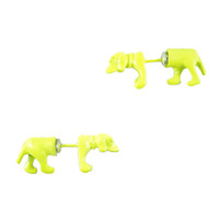 Neon Daschund Front and Back Earrings