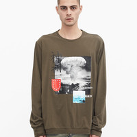 Destroy & Rebuild Printed Graphic Long Sleeve Crewneck Tee in Faded Olive-Brown