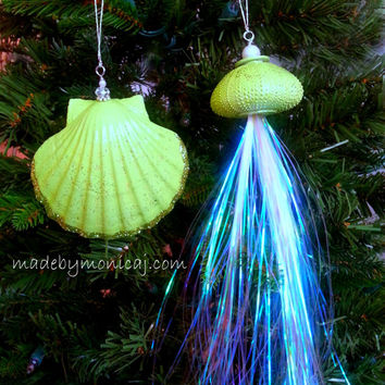 Beach Seashell Ornaments - Lime Green.  Set of two.  Jellyfish and Scallop Shell Christmas Decorations.