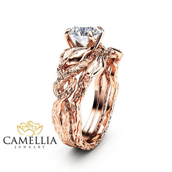 Special Reserved - Nature Inspired 2ct pear morganite Engagement Ring Set 14K Rose Gold