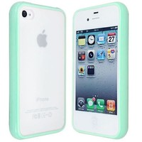 niceEshop(TM)Light Green TPU Frames PC Back Hard Coating Bumper Protective Skin Case Cover For iPhone 4 4s +Screen Protector
