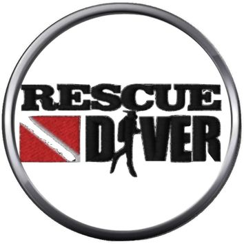 Rescue Scuba Dive Diver Down Flag Dive Certified 18MM - 20MM Snap Jewelry Charm New Item