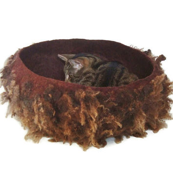 Cat Basket Pet Bed Cruelty Free Rustic Modern Felted Wool Fleece- Shetland/Cotswold Mouflon Lamb on Merlot - Supporting American Small Farms