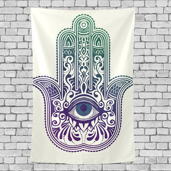 Hamsa Hand Tapestry Wall Hanging Mandala Indian Hippie Boho Wall Decor Art Birthday Gift for Her Him