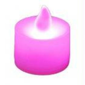 12 Tea Light Candles - Pink With Golden Flame