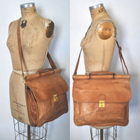 UNISEX Chestnut Brown Leather Bag Briefcase / satchel messenger