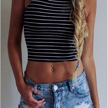 Black and White Striped Halter Top