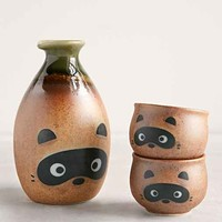 Raccoon Sake Set- Brown One