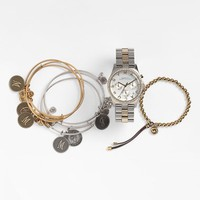 Women's MARC BY MARC JACOBS 'Henry' Chronograph & Crystal Topring Watch - Gold/ Silver